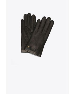 tory-burch-BLACK-Perforated-Leather-Gloves